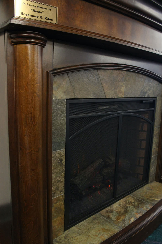 Fireplace at Sunset Senior Living